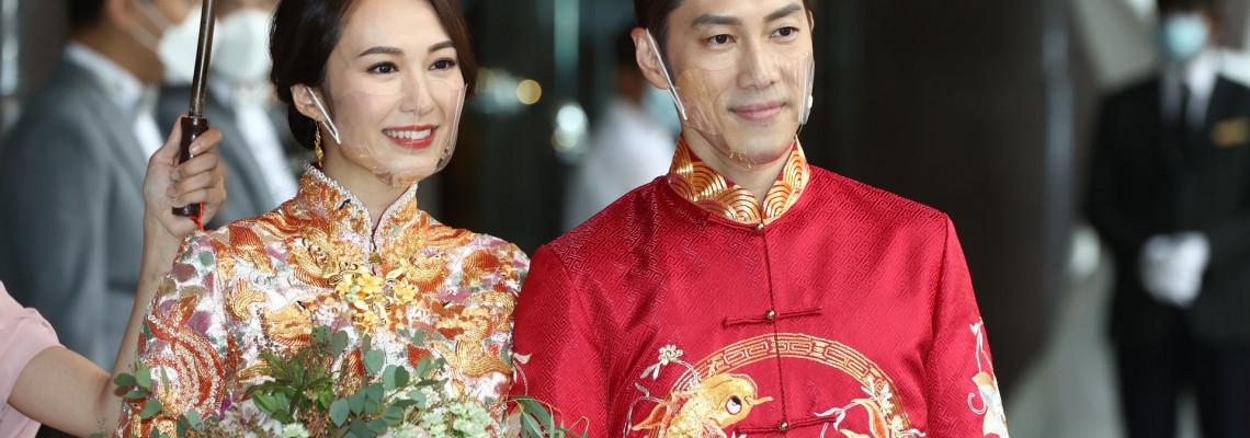 湯怡透明口罩婚禮、朱麗敏透明口罩婚禮。透明口罩婚禮成風!